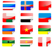 Glossy stickers with flags Stock Photos