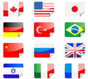 Glossy stickers with flags Royalty Free Stock Images