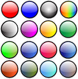 Glossy Sticky Seals Button Icons. Set of  16 Seals Icons and Buttons Vector Illustrations Symbols Royalty Free Stock Photography