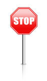 Glossy stop sign Stock Photos