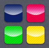 Glossy striped colorful app icon templates Royalty Free Stock Image