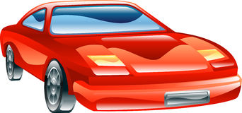 Glossy stylised sports car icon vector illustration