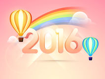 Glossy stylish text 2016 for New Year. 3D glossy text 2016 with hot air balloons on cloudy rainbow background for Happy New Year celebration Royalty Free Stock Images