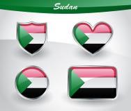 Glossy Sudan flag icon set Stock Images