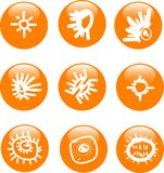 Glossy sun button icon set. Glossy sun web button icon set isolated Royalty Free Stock Image