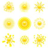 Glossy sun collection. Vector set of abstract glossy sun collection. Decorative sun symbols Stock Images