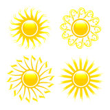 Glossy sun collection. Royalty Free Stock Photo