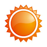 Glossy sun icon. Vector glossy orange sun icon Stock Photos