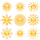 Glossy sun icons Royalty Free Stock Photo