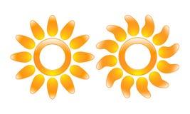 Glossy sun icons Stock Photo