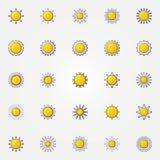 Glossy sun icons set Royalty Free Stock Photos