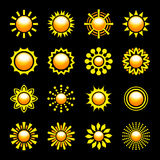 Glossy Sun Icons Set. Vector illustration Stock Images