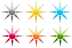 Glossy Symbols. There is glossy sun in 6 color Royalty Free Stock Photography
