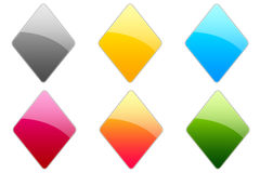 Glossy Symbols. Set of colorful glossy rhomboid Stock Photos
