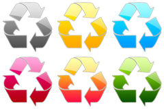 Glossy Symbols. Set of glossy colorful recycle icons Royalty Free Stock Photography