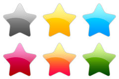 Glossy Symbols. There is glossy rating stars in 6 color Royalty Free Stock Photos