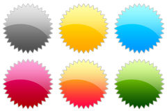 Glossy Symbols. 6 Colorful glossy blank sticker Royalty Free Stock Photography