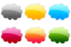 Glossy Symbols. 6 Colorful glossy blank sticker Royalty Free Stock Image