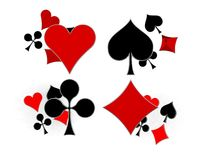 Glossy symbols of playing cards 3d image Stock Images