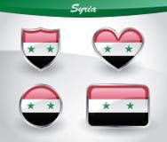 Glossy Syria flag icon set Royalty Free Stock Image