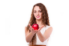 Glossy teen with apple in hand Royalty Free Stock Photography