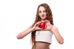 Glossy teen with apple on head Royalty Free Stock Image