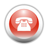 Glossy Telephone Sign Icon Button Royalty Free Stock Photo