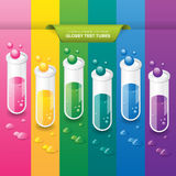 Glossy Test Tubes. Test tube set on a colorful background Royalty Free Stock Image