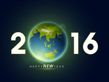 Glossy text 2016 with earth for New Year. Royalty Free Stock Images