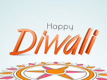 Glossy text for Happy Diwali celebration with rangoli. Stock Images