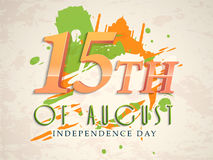 Glossy text for Indian Independence Day. Glossy text 15th of August on famous monuments and flag color splash grungy background for Indian Independence Day Royalty Free Stock Photography