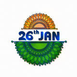 Glossy text 26 January for Indian Republic Day. Royalty Free Stock Photo