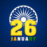 Glossy text 26 January for Republic Day. Royalty Free Stock Image