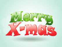 Glossy text for Merry X-Mas celebration. Creative glossy text Merry X-Mas on sky blue background, can be used as poster, banner or flyer design Royalty Free Stock Images