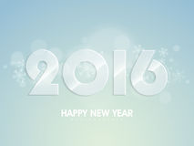 Glossy text 2016 for New Year celebration. Glossy text 2016 on snowflakes decorated shiny background for Happy New Year celebration Stock Image
