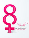 Glossy text with symbol for International Womens Day. Royalty Free Stock Images