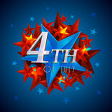 Glossy text for 4th of July celebration. Glossy text 4th of July on blue and red stars for Happy American Independence Day celebration Royalty Free Stock Image