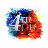 Glossy text for 4th of July celebration. Glossy text 4th of July on creative blue and red abstract design for American Independence Day celebration Stock Image