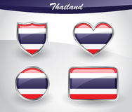 Glossy Thailand flag icon set Stock Image
