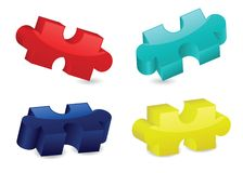 Glossy Three-Dimensional Puzzle Pieces Royalty Free Stock Photo