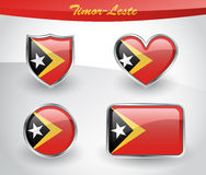Glossy Timor-Leste or East Timor flag icon set Stock Photos