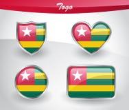 Glossy Togo flag icon set Stock Photo