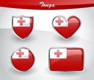 Glossy Tonga flag icon set Royalty Free Stock Photo