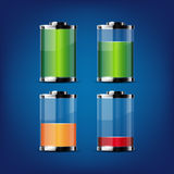 Glossy transparent battery icons Stock Photos