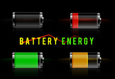 Glossy transparent battery level indicator Royalty Free Stock Image