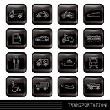 Glossy transportation icons set Royalty Free Stock Image