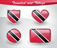 Glossy Trinidad and Tobago flag icon set Stock Image