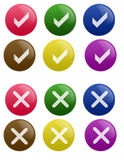 Glossy True False Button. Isolated white background web 2.0 true false glow glossy label Royalty Free Stock Photography
