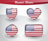 Glossy United States flag icon set Stock Photography
