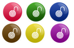 Glossy unlock Button Royalty Free Stock Images